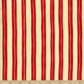 Home is in the Kitchen Stripe Cotton Fabric - Red