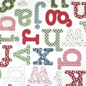 Home School Cotton Fabric - Alphabet - Cream 35175-1