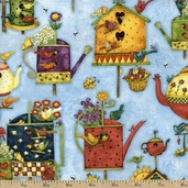 Home Sweet Home Birdhouses Cotton Fabric - Blue