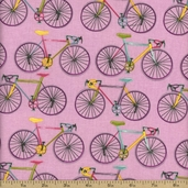 Homegrown Bicycles Cotton Fabric - Pink