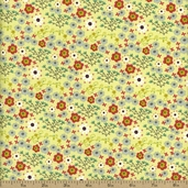 Homegrown Floral Cotton Fabric - Green