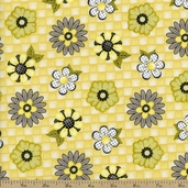 Honey Bee Mine Floral Cotton Fabric - Yellow