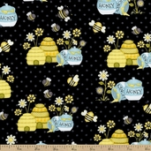 Honey Bee Mine Hive Cotton Fabric - Black