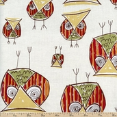 Honeycrisp Owls Cotton Fabric - Cream