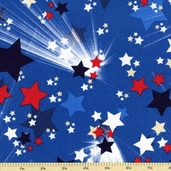 Honor and Glory Stars Cotton Fabric - Blue