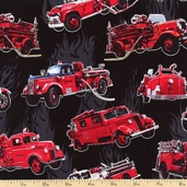 Hook and Ladder Engines Cotton Fabric - Black 3936-60626-8