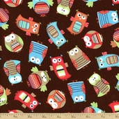 Hootenanny Owls Organic Cotton Fabric - Brown