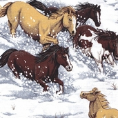 Horses In Snow Cotton Fabric - White and Grey