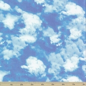 Hot Air Balloons Sky Cotton Fabric - Blue - Clearance