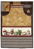Hot Chocolate Apron Panel Cotton Fabric - Brown