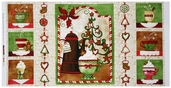 Hot Cider Holiday Panel Cotton Fabric
