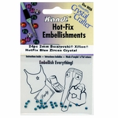 Hot-Fix Embellishments 2mm - Blue Zircon - 3 Pkgs of 24