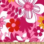 Hot House Botany Cotton Fabric - Pink TD-31