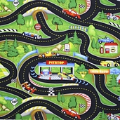 Hot Rods Ride Again Cotton Fabric - Multicolor Q.1435-83727-793s