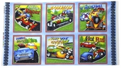 Hot Rods Ride Again! Cotton Fabric - Race Block Panel - Multi