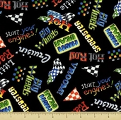 Hot Rods Ride Again! Cotton Fabric - Slogans - Black