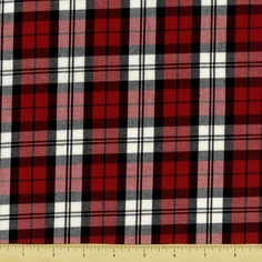 House of Wales Cotton Shirting Fabric - Plaid - Red - CLEARANCE