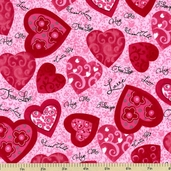 Hug Me Hearts Cotton Fabric - Pink Y1076-42