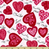 Hug Me Hearts Cotton Fabric - White Y1076-1