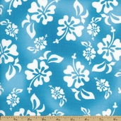 HuLaLa Hawaiian Cotton Fabric - Turquoise 691-853-B