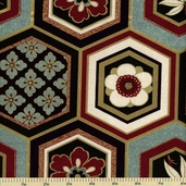 Hyakka Ryoran Cotton Fabric - Tile - Multi Color HR3920Y-12-C