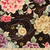 Hyakka Ryoran Floral Ornament Cotton Fabric - Brown HR3930Y-11-F
