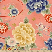 Hyakka Ryoran Floral Ornament Cotton Fabric - Pink HR3930Y-11-B