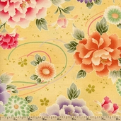 Hyakka Ryoran Floral Ornament Cotton Fabric - Yellow HR3930Y-11-A