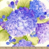 Hydrangea and Raspberries Cotton Fabric - Periwinkle