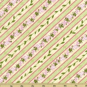 Hydrangea Radiance Diagonal Stripe Cotton Fabric - Ivory - CLEARANCE