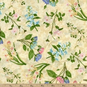 Hydrangea Radiance Flower Toss Cotton Fabric - Ivory
