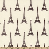 I Dream Of Paris Eiffel Tower Cotton Fabric - Cream