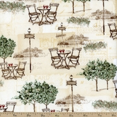I Dream Of Paris Post Card Cotton Fabric - Cream