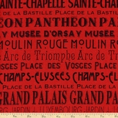 I Dream Of Paris Words Cotton Fabric - Red