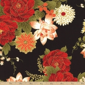 Imperial Garden Metallic Floral Cotton Fabric - Black