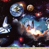 In Space Cotton Fabric - Black 1298