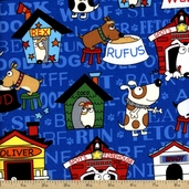 In the Dog House Cotton Fabric - Blue 05875-55