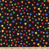 In the Dog House Stars Cotton Fabric - Black 05876-12