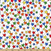 In the Dog House Stars Cotton Fabric - White 05876-09