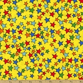 In the Dog House Stars Cotton Fabric - Yellow 05876-33