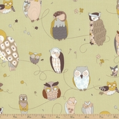 In The Kitchen Spotted Owl Cotton Fabric - Sage