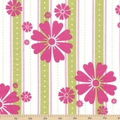 In the Meadow Floral Stripe Cotton Fabric - Avocado and Pink - CLEARANCE