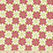 In the Meadow Overlapping Floral Cotton Fabric - Avocado and Pink