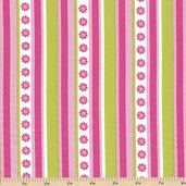 In the Meadow Stripe Cotton Fabric - Avocado and Pink