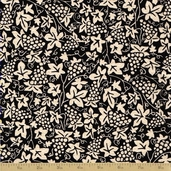In Vino Cotton Fabric - Fruit of The Vine - Black