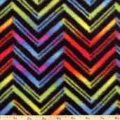 Indian Sunrise Chevron Fleece Fabric - Black
