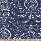 Indigo Crossing Floral Cotton Fabric - Medium Blue 14750-12