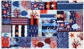 Indo Ikat Collage Cotton Fabric Panel - Indigo