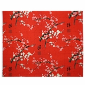 Indochine Golden Garden Cotton Fabric - Red