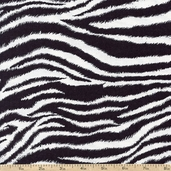 It's A Jungle Out There Zebra Cotton Fabric - Black - Clearance